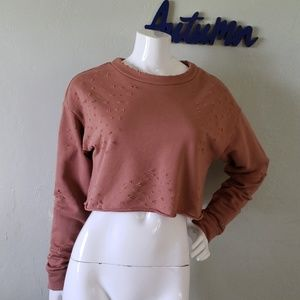 ALO YOGA rust/brown distressed cropped sweater